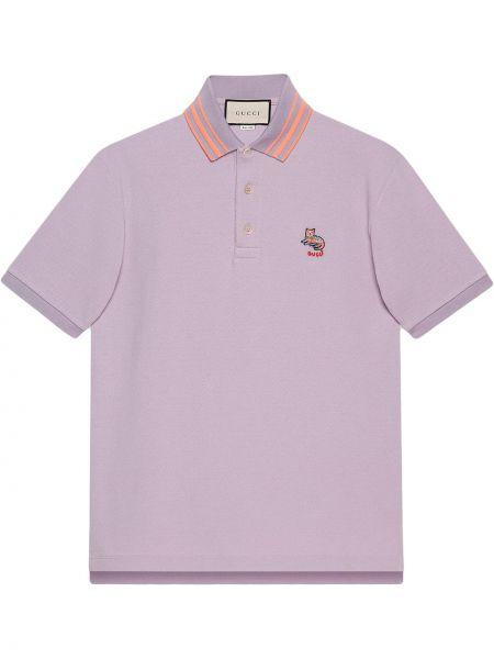 Fioletowy bawełna koszula krótkie z krótkim rękawem z haftem z kołnierzem Gucci