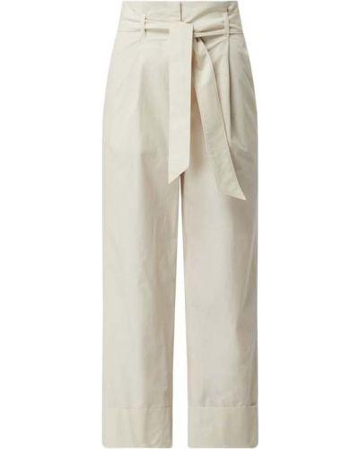 Beżowe spodnie bawełniane z paskiem Marc Cain
