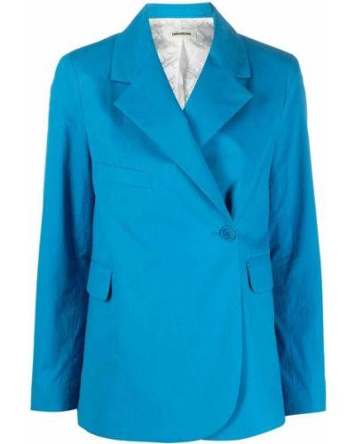Синий удлиненный пиджак на пуговицах со шлицей Zadig&voltaire
