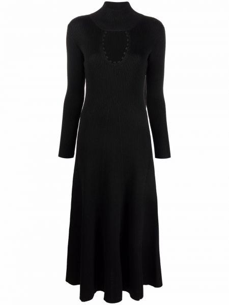 Шерстяное платье макси - черное Bevza