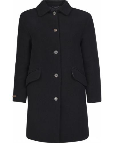 Шерстяное черное пальто с капюшоном Peruffo