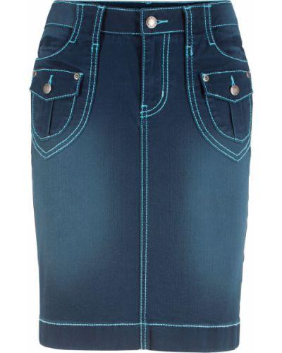 Джинсовая юбка синяя темно-синий Bonprix