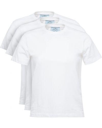 Хлопковая футболка - белая Prada