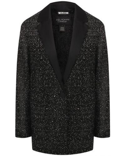 Повседневный черный пиджак с подкладкой St. John