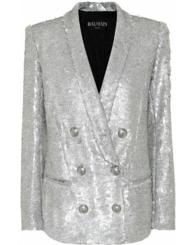 Пиджак с пайетками двубортный Balmain