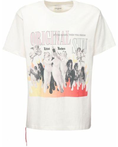 Biały t-shirt bawełniany z printem Lifted Anchors