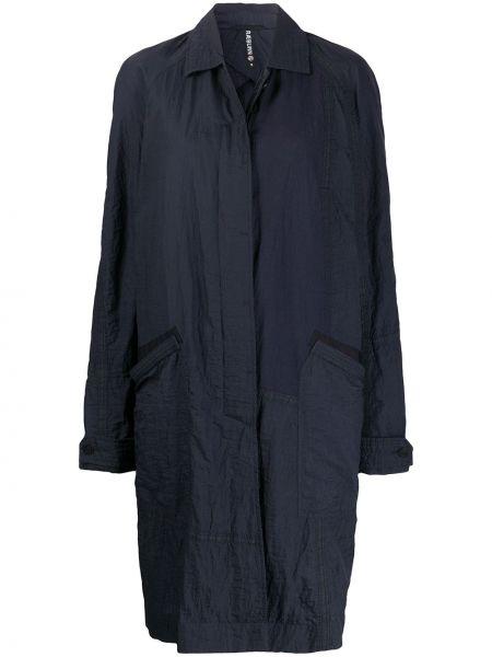Синее пальто классическое с накладными карманами с воротником на пуговицах Raeburn