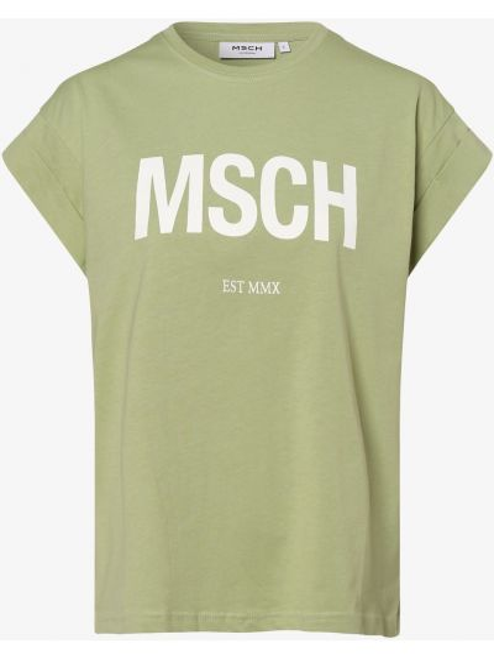 Zielona koszulka z printem Moss Copenhagen