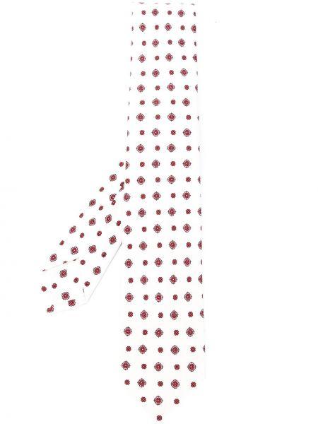 Белый шелковый галстук в цветочный принт Barba