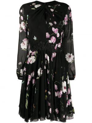 С рукавами черное расклешенное платье Giambattista Valli