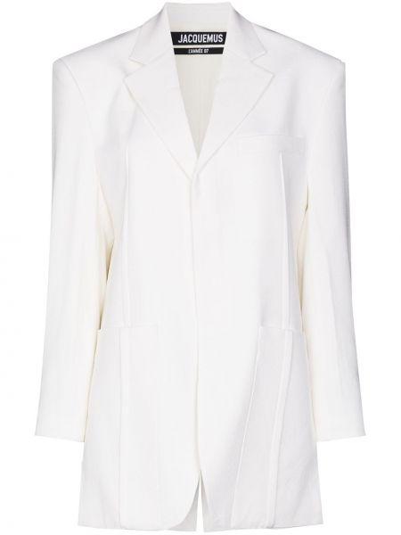Шерстяной белый удлиненный пиджак с карманами Jacquemus