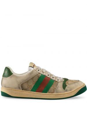 Klasyczny brezentowy zielony skórzane sneakersy z paskami Gucci