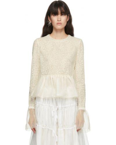 С рукавами белая шелковая ажурная блузка с длинным рукавом Renli Su