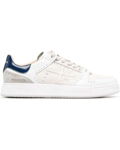 Кожаные белые кроссовки на шнуровке Premiata