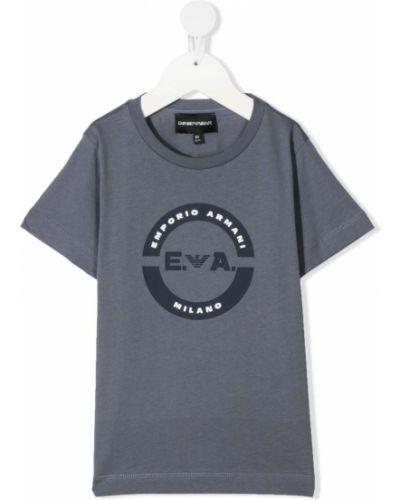 Хлопковая прямая белая футболка Emporio Armani Kids