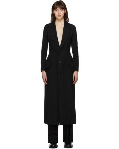 Шерстяное черное длинное пальто с воротником на шнурках Yohji Yamamoto