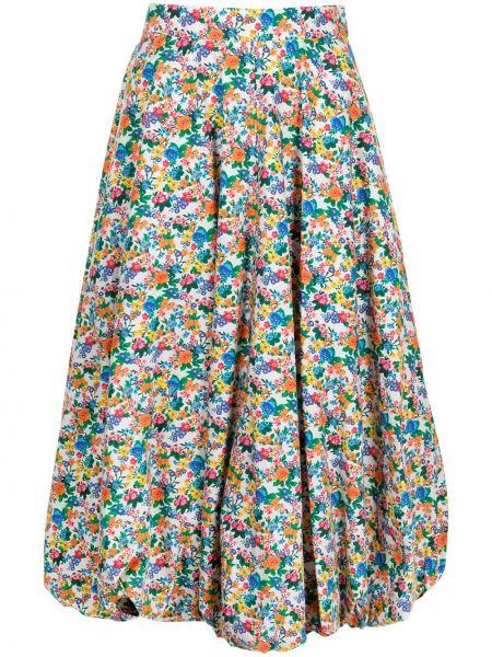Spódnica midi z wysokim stanem w kwiaty bawełniana Tibi