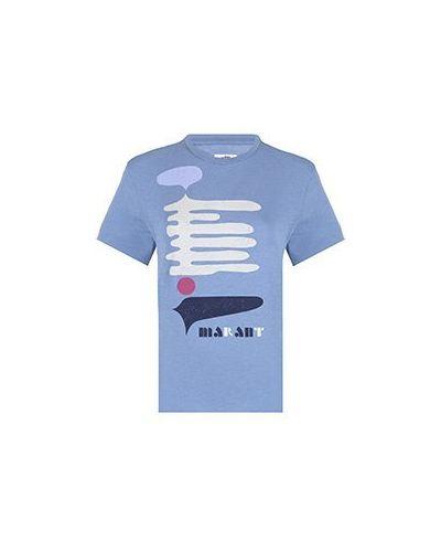 Хлопковая футболка - синяя Isabel Marant Étoile