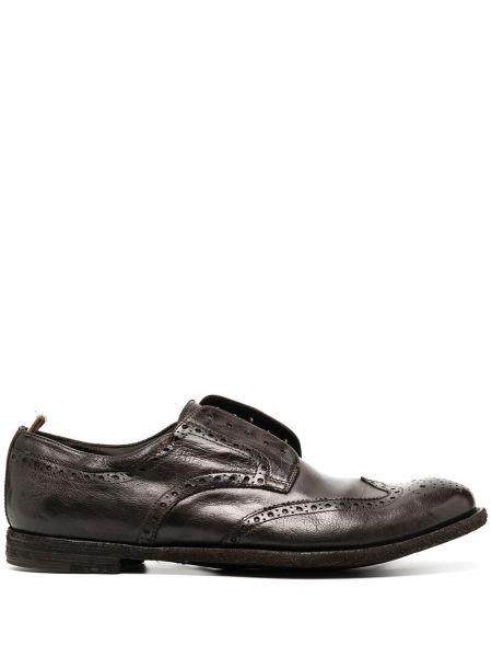 Skórzany brązowy buty brogsy kaskada okrągły Officine Creative