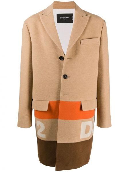 Бежевое шерстяное длинное пальто на пуговицах Dsquared2