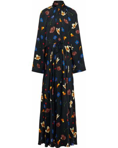 Платье макси атласное - черное Solace London