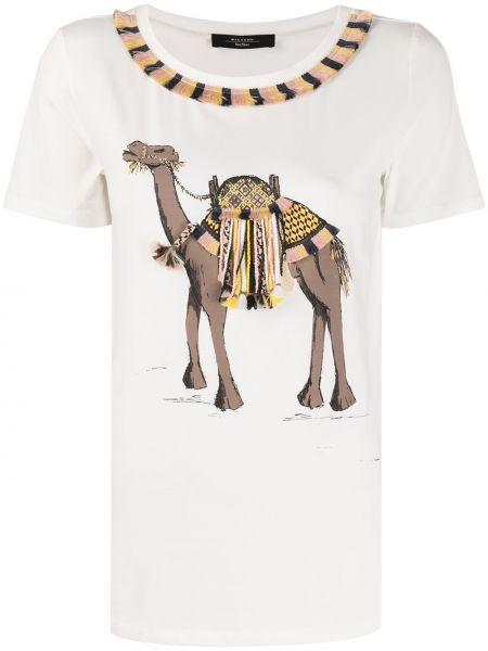 С рукавами белый топ с бахромой из верблюжьей шерсти Weekend Max Mara