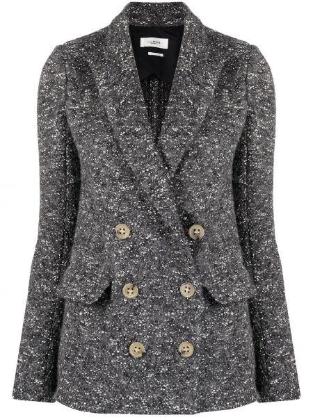 Серый удлиненный пиджак твидовый двубортный Isabel Marant étoile