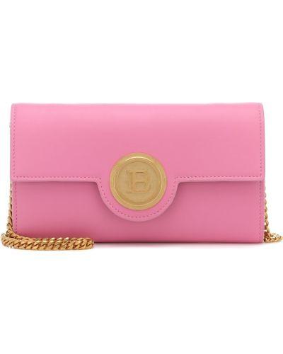 Кожаный розовый клатч Balmain