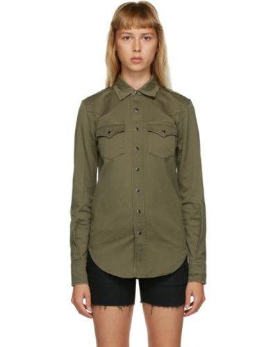 Черная классическая рубашка с воротником с длинными рукавами Saint Laurent
