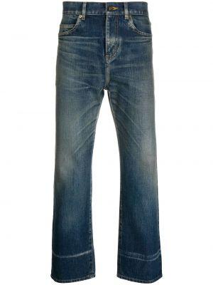 Bawełna prosto niebieski jeansy o prostym kroju z paskiem Saint Laurent