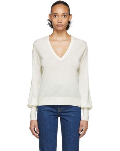 Открытый белый шерстяной длинный свитер Chloé