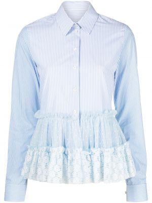 Хлопковая синяя классическая рубашка с воротником Viktor & Rolf