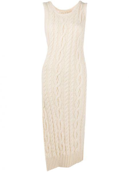 Шерстяное платье миди без рукавов с вырезом круглое Telfar