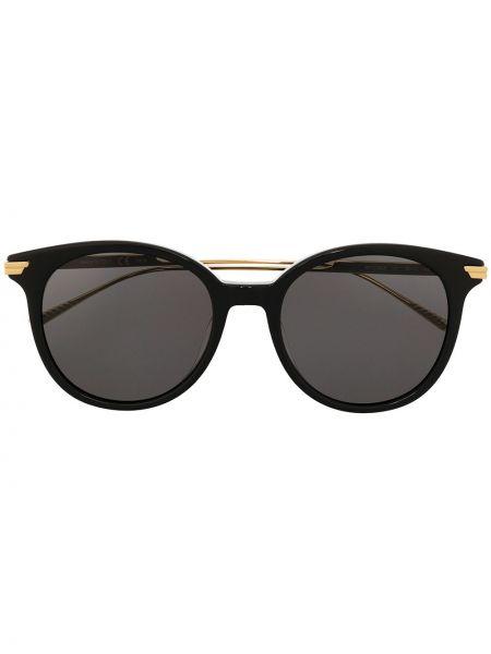 Золотистые черные солнцезащитные очки круглые металлические Bottega Veneta Eyewear