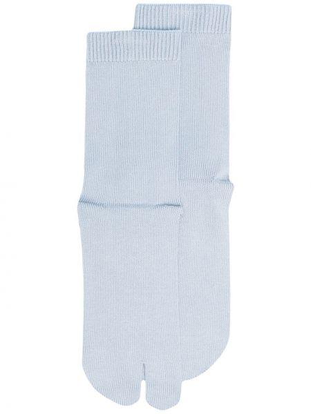 Синие хлопковые носки в рубчик Maison Margiela