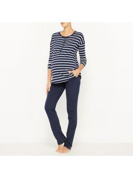 Пижама с брюками меланж на пуговицах La Redoute