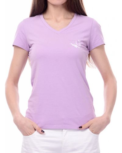 Хлопковая футболка - фиолетовая Armani Jeans