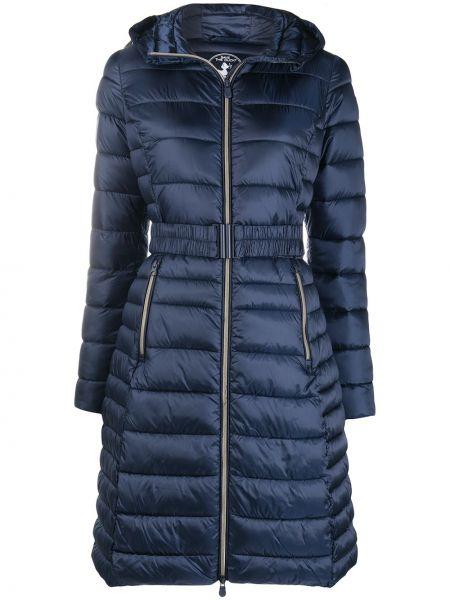 С рукавами нейлоновое синее длинное пальто с карманами Save The Duck