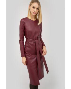 Кожаное платье миди с вырезом Cardo