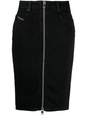 Черная кожаная юбка карандаш с карманами Diesel