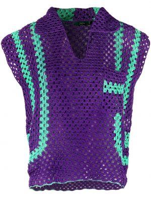 Фиолетовый хлопковый топ с короткими рукавами Jejia
