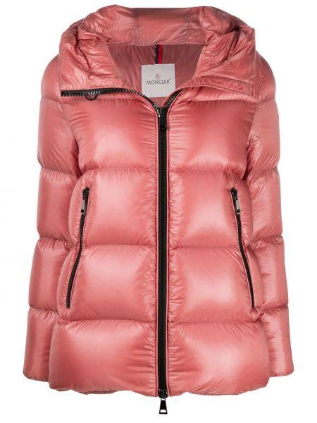 Куртка с капюшоном длинная розовая Moncler