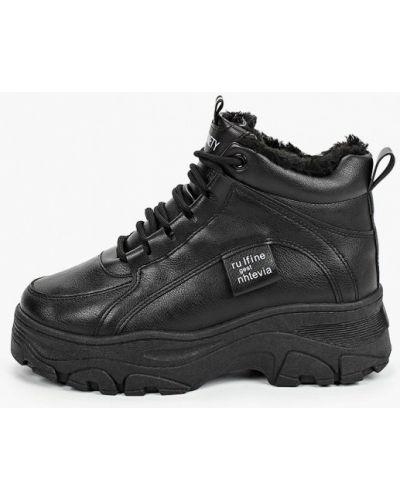 Кожаные черные высокие кроссовки Sprincway