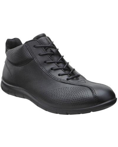 Кожаные кроссовки высокие черные Ecco