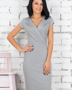 Платье миди деловое с отложным воротником Ajour