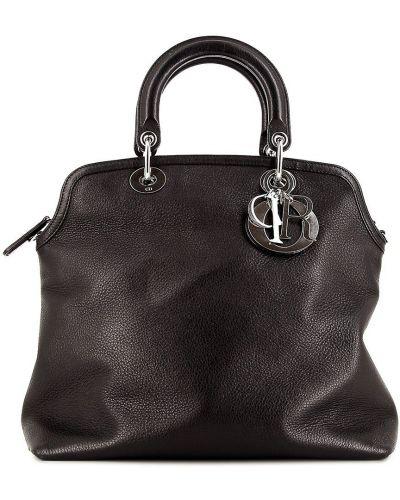 Кожаная черная сумка-тоут винтажная Christian Dior