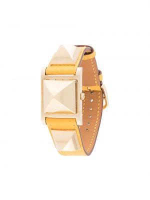 Żółty złoty zegarek na skórzanym pasku pozłacany Hermes