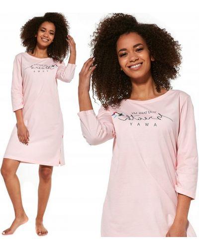 Różowa koszula nocna bawełniana z printem Cornette