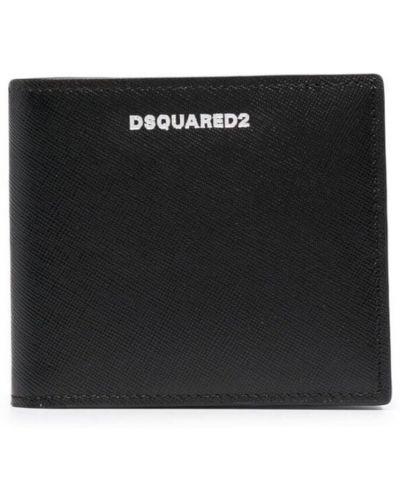 Czarny portfel srebrny Dsquared2
