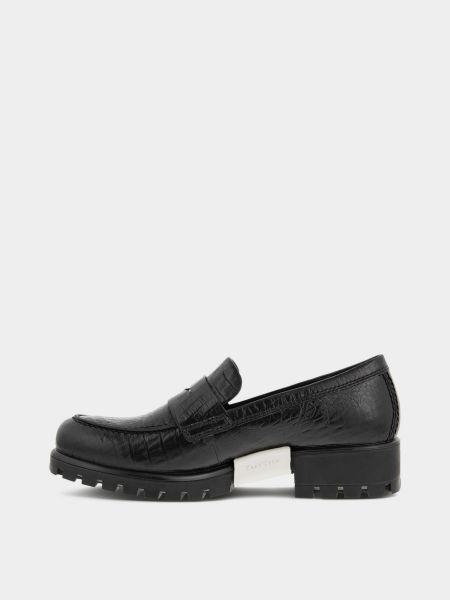 Черные кожаные лоферы Ecco